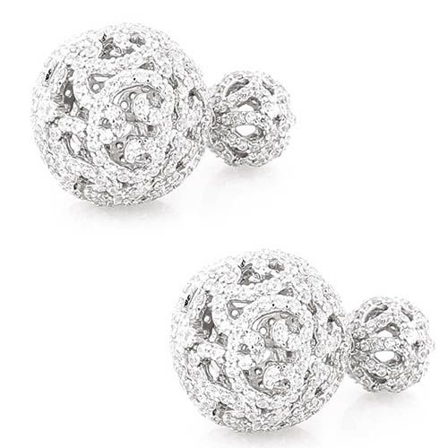 Серьги Alibi серебряные в виде сквозных шариков с цирконами, фото