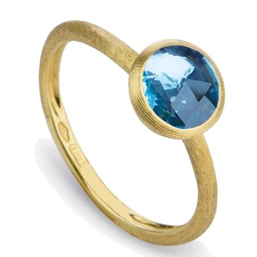 Золотое тонкое кольцо Marco Bicego Jaipur с голубым топазом, фото