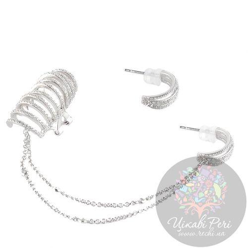 Серьги каффы APM Monaco Inseparable из серебра с цирконами, фото