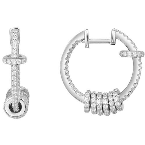 Серебряные серьги с цирконами APM Monaco в форме колец, фото