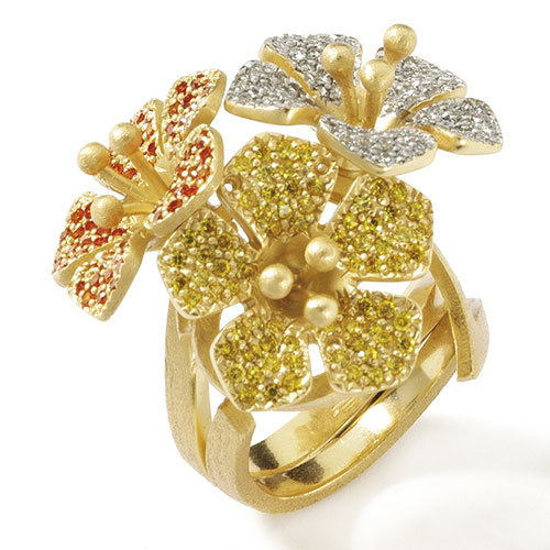 Двойное кольцо Misis Calathea с цветками, фото