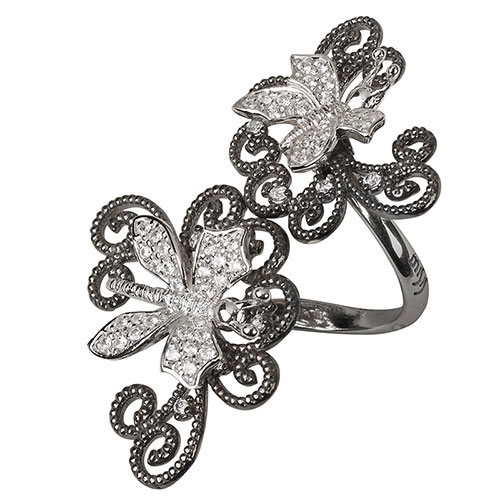 Серебряный перстень Misis Minervia в виде спирали с бабочками, фото