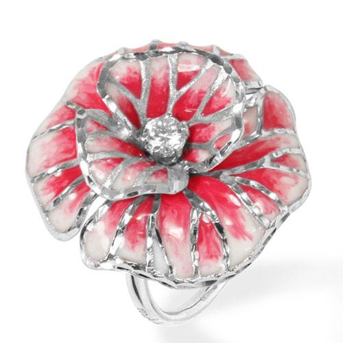 Кольцо Misis Volterra в форме крупного цветка с фианитами, фото