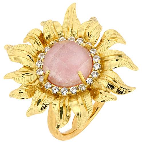 Перстень Misis Pienza с крупным подсолнухом с розовым опалом, фото