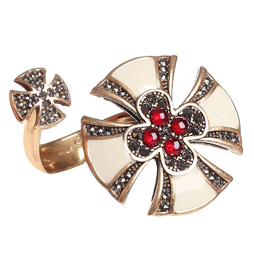 Разомкнутое кольцо Misis Artificialia с рубином и марказитом, фото