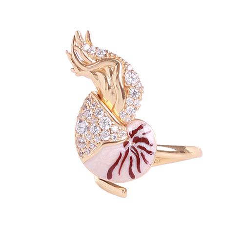 Серебряное кольцо Misis Giava с эмалью и цирконами, фото
