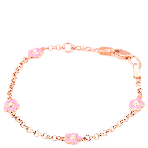 Золотой браслет с подвесками-цветами, фото