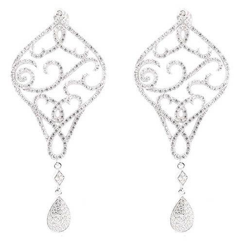 Серьги Alibi серебряные узорные в виде ромба и подвески-капельки с цирконами, фото
