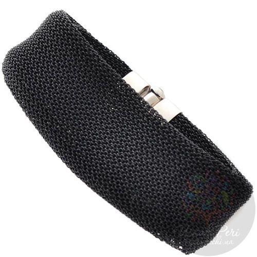 Мягкий браслет Adami Martucci из черной серебряной ткани с цитринами, фото