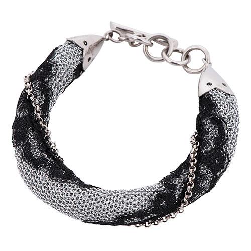 Браслет Adami & Martucci из серебряной ткани с черным кружевом, фото