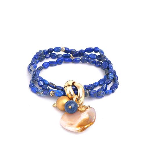 Женский браслет MasMas с жемчугом и ляписом, фото