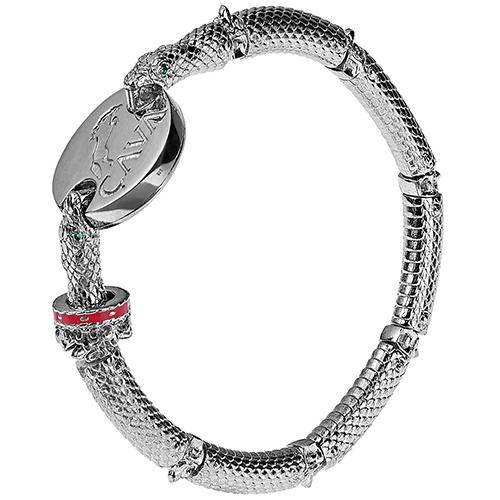Браслет Cava.cool Змея из серебра с родированием и зеленым нанокристаллом, фото