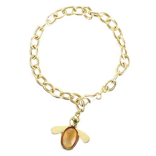 Серебряный браслет Misis с кулоном в виде пчелы, фото
