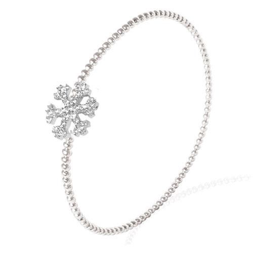 Серебряный браслет Misis с подвеской в форме снежинки, фото