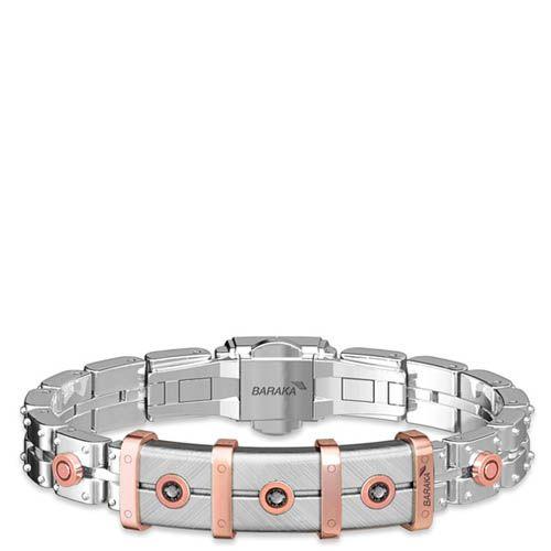 Мужской браслет Baraka из нержавеющей стали с декоративной вставкой  украшенной тремя черными бриллиантами BR262051RODN200009 d6cf60a9c23