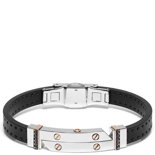 Мужской браслет Baraka из каучука с элементами из нержавеющей стали и двумя рядами черных бриллиантов, фото