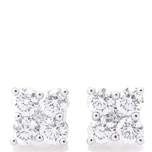 Гвоздики Оникс из белого золота с бриллиантами, фото