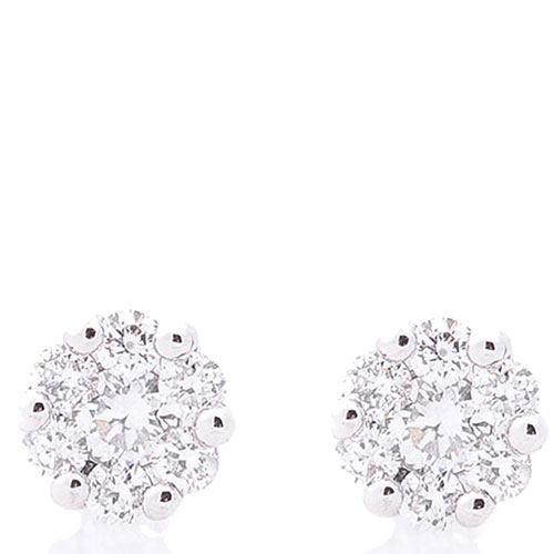 Серьги-пусеты с бриллиантами Оникс из белого золота, фото