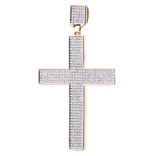 Золотая подвеска-крестик Оникс с бриллиантами, фото