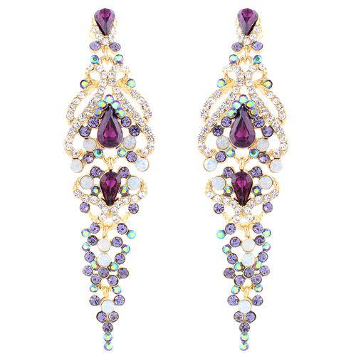 Длинные серьги Parure Milano позолоченные с цветными кристаллами Swarovski, фото