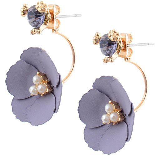 Серьги-пусеты Jewels с кристаллом и цветком нежно-лилового цвета, фото