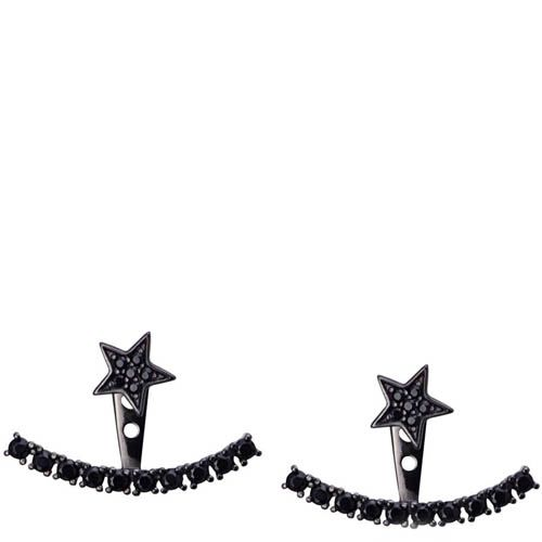 Серьги Armadoro Jewelry со звездочками и дугой из черных кристаллов, фото
