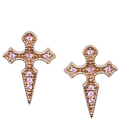Серьги Armadoro Jewelry в виде крестоков с розовыми кристаллами, фото