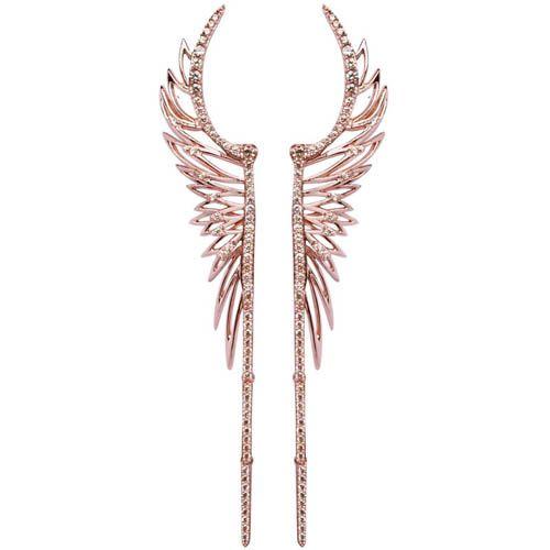 Серьги Armadoro Jewelry в виде крыльев с покрытием из розового золота с белыми кристаллами, фото