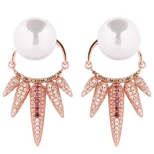 Серьги Armadoro Jewelry с жемчужинами и съемной подвеской украшенной цирконами, фото