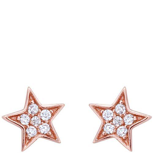 Серьги Armadoro Jewelry в розовом золоте в форме звездочек с белыми цирконами, фото