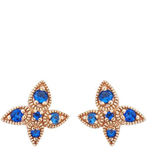 Серьги Armadoro Jewelry в розовом золоте четырехлистные с синими цирконами, фото