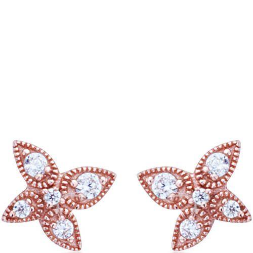 Серьги Armadoro Jewelry в розовом золоте четырехлистные с белыми цирконами, фото