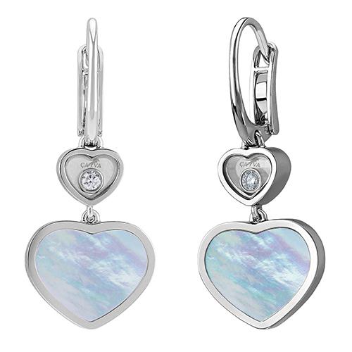 Серьги Cava.cool Два сердца из серебра с перламутром и бриллиантом, фото