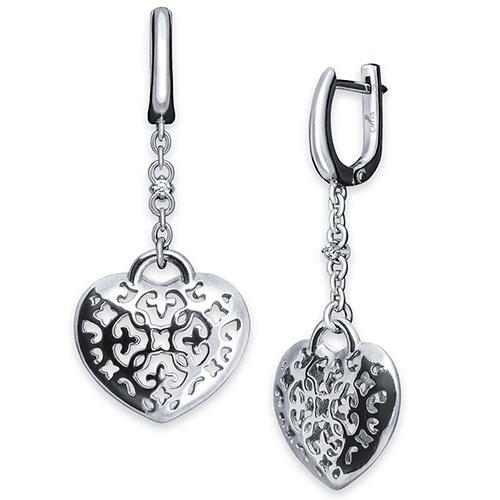 Серьги-подвески Cava.cool Сердце с двумя бриллиантами 006 карат, фото