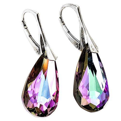 Серьги She Happy средней длины с разноцветными кристаллами Swarovski e0355, фото