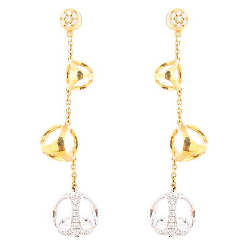 Серьги-гвоздики Di Modolo из белого и желтого золота с бриллиантами, фото