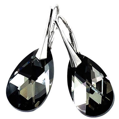 Серебряные серьги She Happy с черными кристаллами Swarovski мелкой огранки e6107, фото