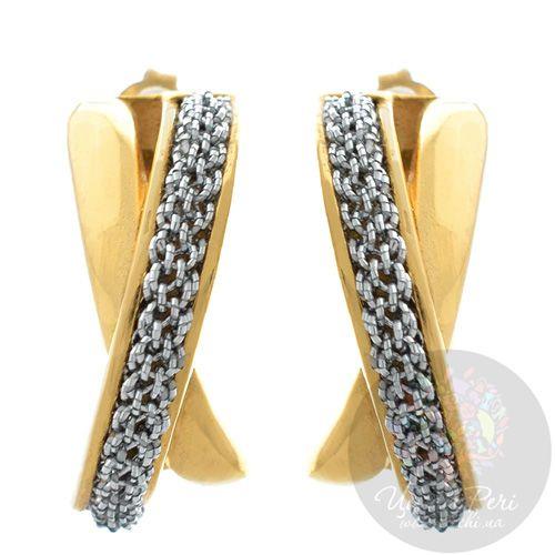 Позолоченные серьги Adami Martucci со вставкой из мягкой серебряной ткани, фото