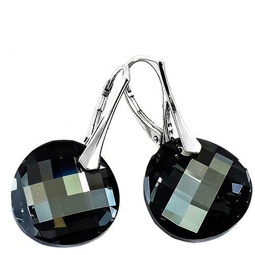 Серебряные серьги She Happy с черными круглыми кристаллами Swarovski e7632, фото