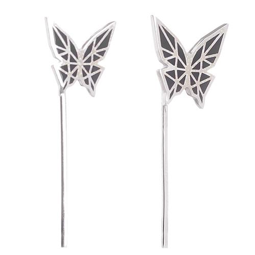 Серьги Logvinenko Jewelry Geometry с черными бабочками, фото