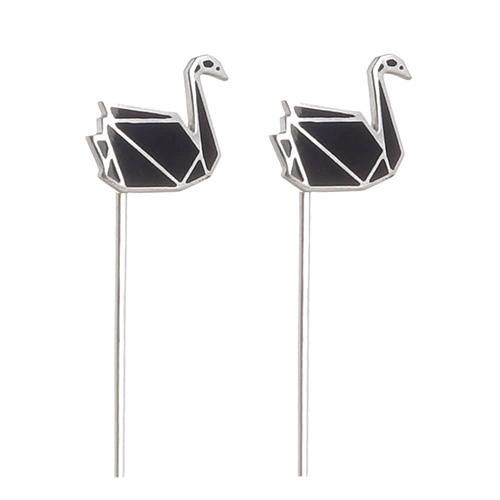 Серьги Logvinenko Jewelry Geometry с черными лебедями, фото