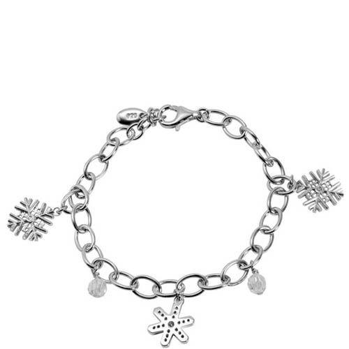 Браслет ESPRIT серебряный с подвесками-снежинками, фото