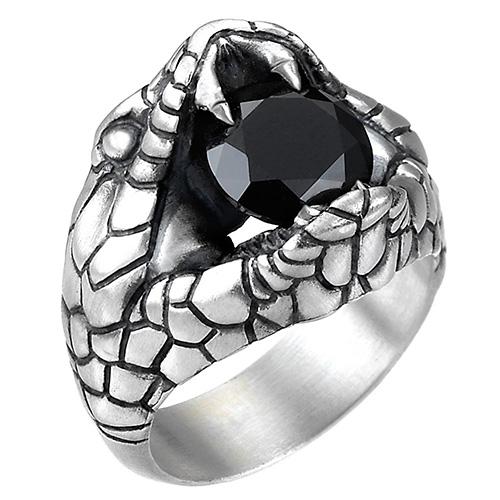 Серебряное кольцо Zancan Vintage кобра с черным шпинелем, фото