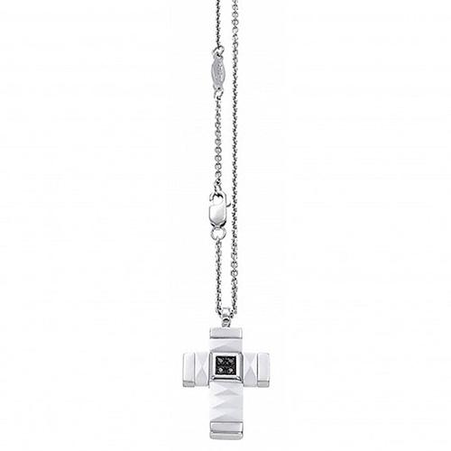 Белый керамический крестик Zancan Union с черными цирконами, фото