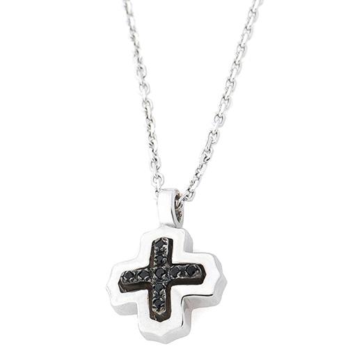 Подвеска-крест Zancan Silver Insignia 925 с черными камнями, фото
