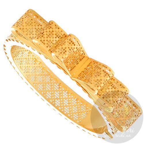 Золотой браслет Francelli с геометричным прорезным орнаментом с декором в виде банта, фото