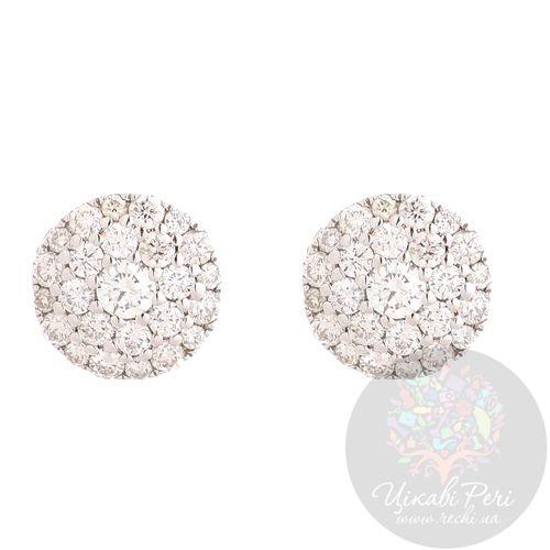 Серьги-гвоздики Francelli из белого золота с бриллиантами, фото