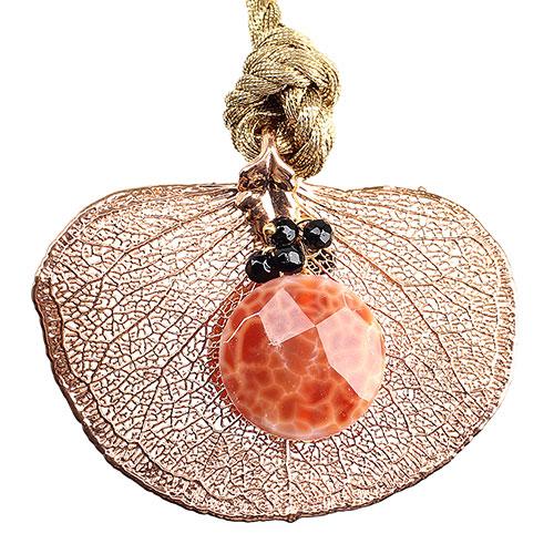 Колье Ester Bijoux с листом денежного дерева в розовом золоте, фото