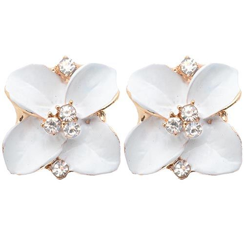 Серьги Jewels белого цвета с кристаллами в середине цветка, фото