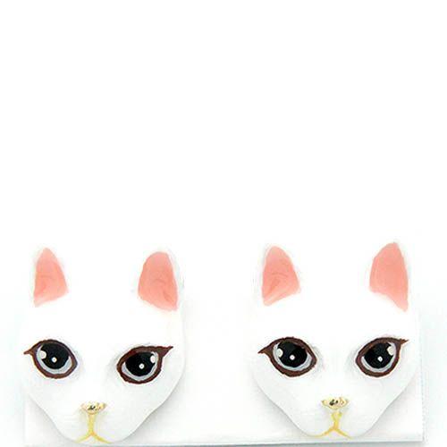 Серьги Good After Nine с белыми кошками, фото